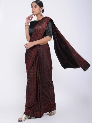 Brown Block-printed Gajji Silk Saree