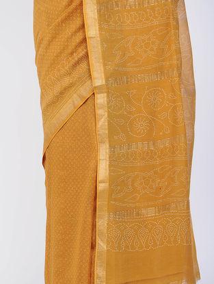 Yellow Block-printed Silk Cotton Saree