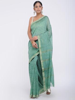 Green Block-printed Silk Cotton Saree
