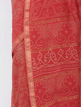 Red Block-printed Silk Cotton Saree