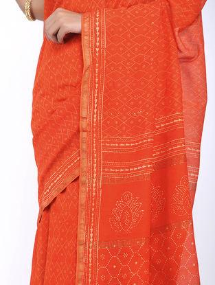 Orange Block-printed Silk Cotton Saree