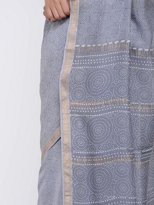 Grey Block-printed Silk Cotton Saree
