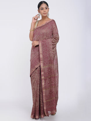 Purple Block-printed Silk Cotton Saree
