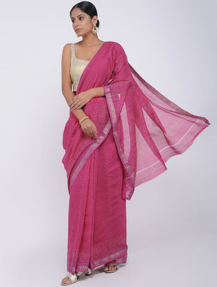 Pink Block-printed Silk Cotton Saree