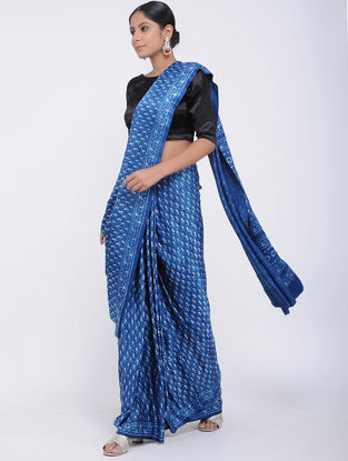 Blue Block-printed Gajji Silk Saree