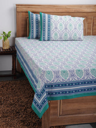 Blue-Green Printed Cotton Bed Cover with Pillow Covers (Set of 3)