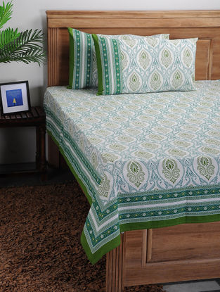 Green-White Printed Cotton Bed Cover with Pillow Covers (Set of 3)