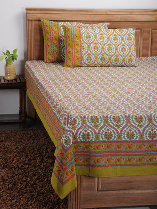 Multicolored Printed Cotton Bed Cover with Pillow Covers (Set of 3)