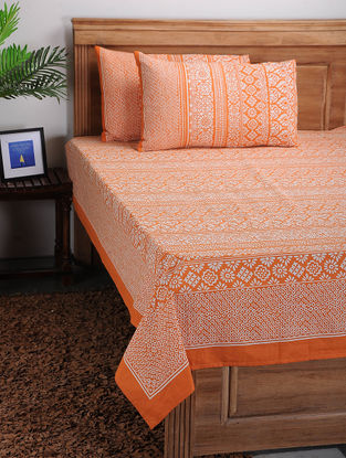 Orange-White Printed Cotton Bed Cover with Pillow Covers (Set of 3)