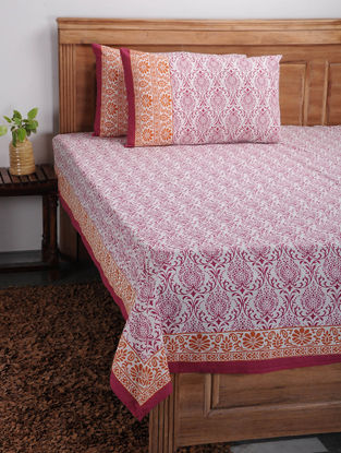 Pink-Orange Printed Cotton Bed Cover with Pillow Covers (Set of 3)