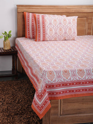 Orange-Red Printed Cotton Bed Cover with Pillow Covers (Set of 3)