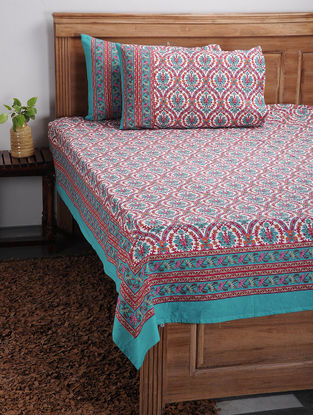 Blue-Pink Printed Cotton Bed Cover with Pillow Covers (Set of 3)