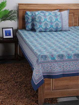 Blue-White Printed Cotton Bed Cover with Pillow Covers (Set of 3)