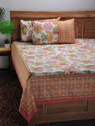 White-Multicolored Printed Cotton Double Bed Cover with Pillow Covers (Set of 3)