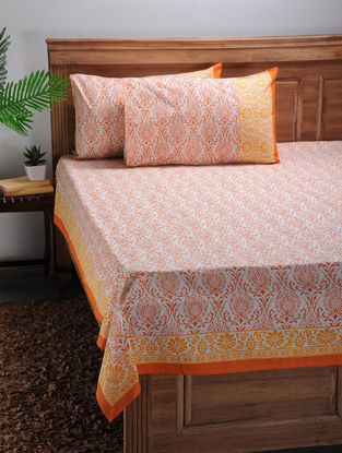 White-Orange Printed Cotton Double Bed Cover with Pillow Covers (Set of 3)