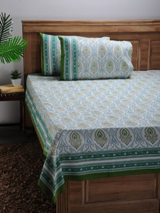White-Green Printed Cotton Double Bed Cover with Pillow Covers (Set of 3)