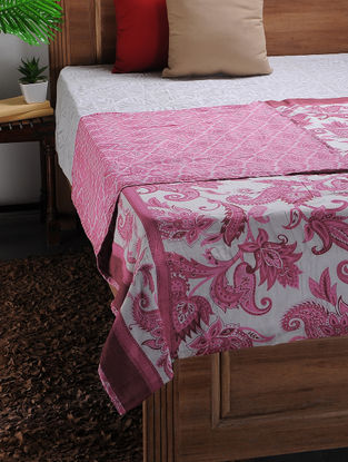White-Purple Printed Cotton Double Dohar (106in x 88in)