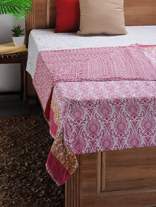White-Purple Printed Cotton Double Dohar (105in x 88in)