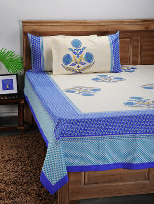 White-Blue Printed Cotton Double Bed Cover with Pillow Covers (Set of 3)