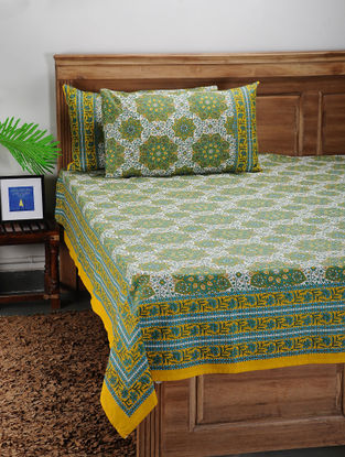 Green-Yellow Printed Cotton Double Bed Cover with Pillow Covers (Set of 3)