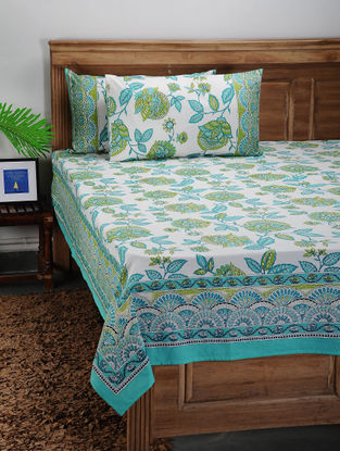 Blue-Green Printed Cotton Double Bed Cover with Pillow Covers (Set of 3)