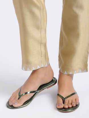 Green Metallic Handcrafted Flats
