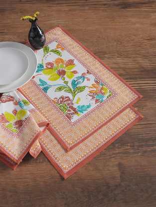 Multicolored Printed Napkins with Place Mats (Set of 12)