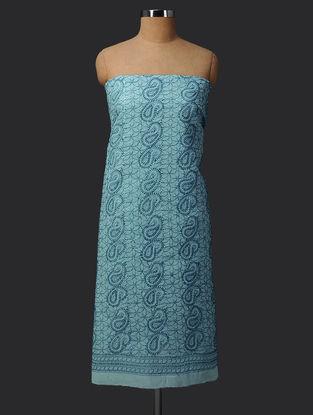 Blue Chikankari Cotton Blend Kurta Fabric