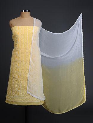 Yellow-Ivory Chikankari Cotton Blend Suit Fabric with Chiffon Dupatta