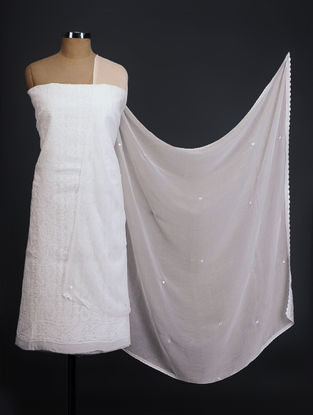 Ivory Chikankari Cotton Blend Suit Fabric with Chiffon Dupatta