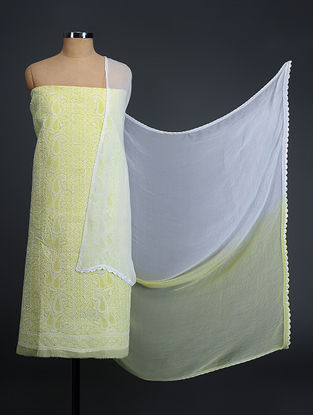 Green-Ivory Chikankari Cotton Blend Suit Fabric with Chiffon Dupatta