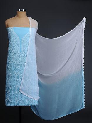 Turquoise-Ivory Chikankari Cotton Blend Suit Fabric with Chiffon Dupatta