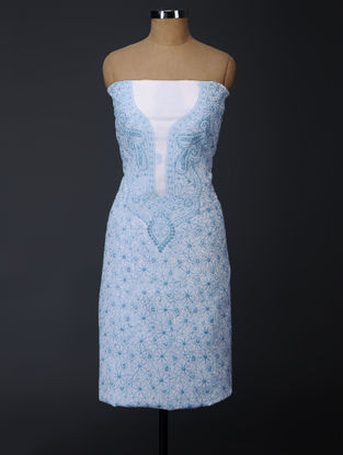 Ivory-Blue Chikankari Kota Doria Suit Fabric