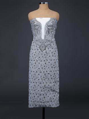 Ivory-Black Chikankari Kota Doria Suit Fabric