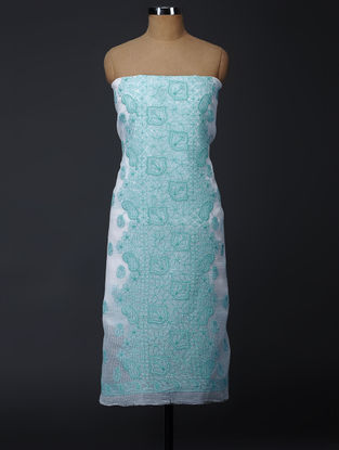 Ivory-Green Chikankari Kota Doria Suit Fabric