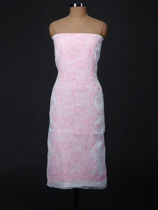 Pink-Ivory Chikankari Kota Doria Suit Fabric