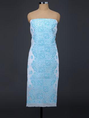 Turquoise-Ivory Chikankari Kota Doria Suit Fabric