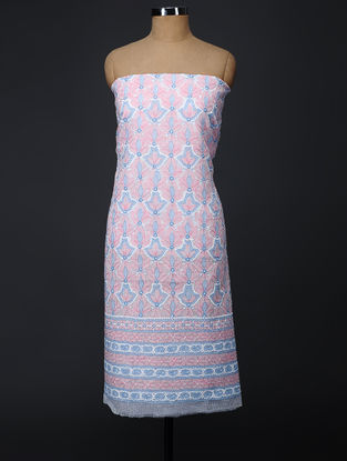 Pink-Blue Chikankari Kota Doria Kurta Fabric