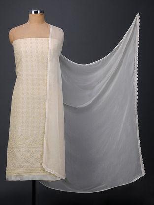 Ivory Chikankari Tussar Silk Suit Fabric