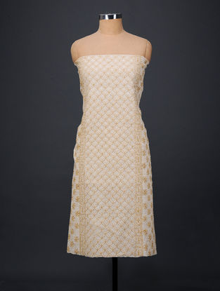 Ivory-Yellow Chikankari Chanderi Kurta Fabric