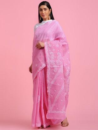 Pink-Ivory Chikankari Cotton Blend Saree