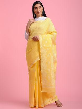 Yellow-Ivory Chikankari Cotton Blend Saree