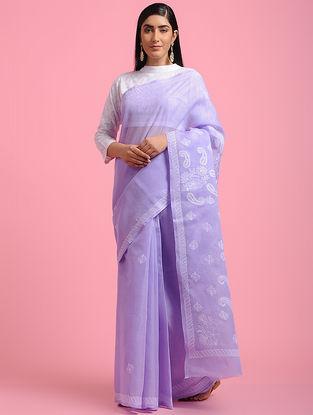 Purple-Ivory Chikankari Cotton Blend Saree