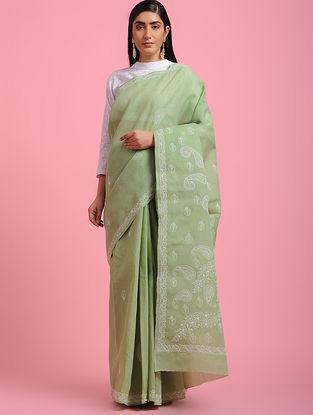 Green-Ivory Chikankari Cotton Blend Saree