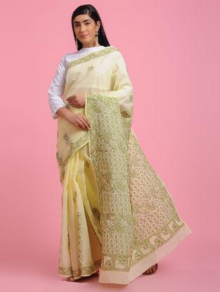 Ivory-Green Chikankari Cotton Blend Saree