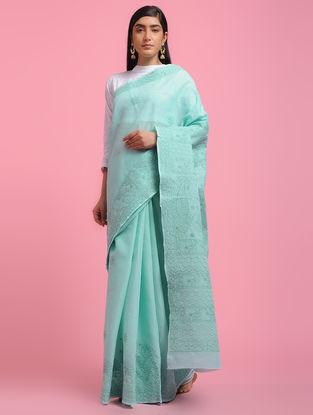 Turquoise Chikankari Cotton Blend Saree