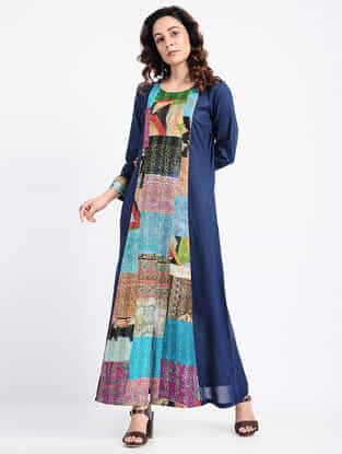 Blue Kantha-Embroidered Cotton Dress