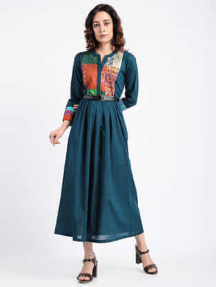 Teal Kantha-Embroidered Cotton Dress