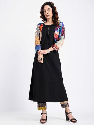 Black Kantha-Embroidered Cotton Kurta