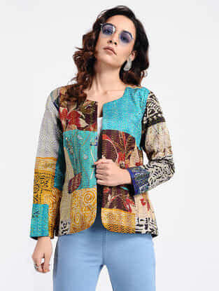 Multicolored Kantha-Embroidered Cotton Jacket